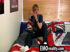 Young and treasing emo teen in his room stripping
