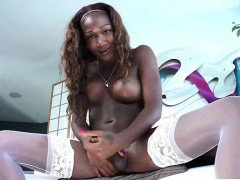 Black ebony shemale cums from jerking
