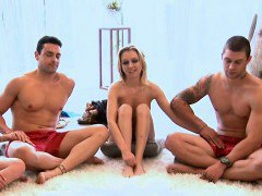 Blond and brunette girls played sex game with two dudes