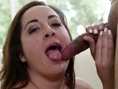 Brunette eagerly sucks big dicks and gets hot cum facial...