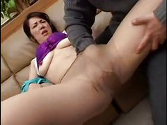 Asian Milf, seduced on couch