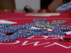 Blonde gets fucked by her lover and his poker buddies in all of her tight holes