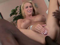 Hot blonde babe gobbles down a big fat monster cock befor