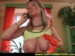 Kate masturbates while talking on the phone to her boss
