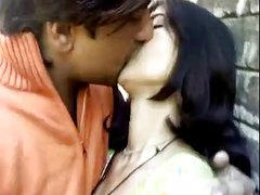 He just love kissing his sweet looking Indian girlfriend