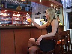 Petite girl fucked doggy style in classy bar