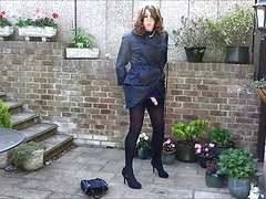 Alison Thighbootboy wanking in her new nylon mac