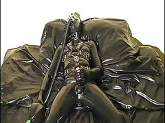 enclosed in rubber wank & cum