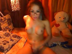Shemale Strokes her Monster Big Cock