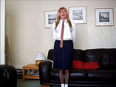 sissy neville in his schoolgirl uniform wanks - task