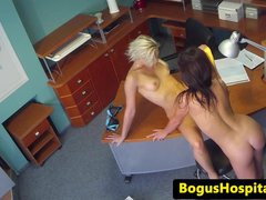 Lesbian spycam sex with hot nurse and patient