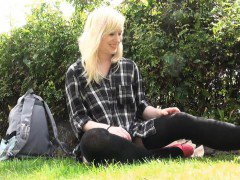 Blonde babe Satine Spark masturbates in a park and public