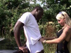 German Teen Outdoor Fuck with Black Big Dick Boy