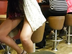 Hot horny girl caught flashing Upskirt in cafe