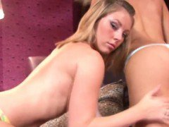 Two smoking hot teen babes tasting each other