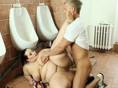 BBW lady punishing hard a boy from WC cleaning service