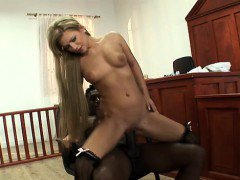 Petite girl takes a massive black cock in her ass