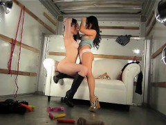 BTS of Asa Akira and Dani Daniels during the truck and