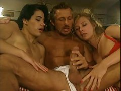 Two crazy German girls fucking lucky guy