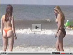 Two teen cuties at beach
