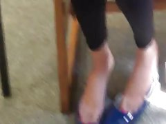 Candid College Teen Feet Painted Toes Shoeplay