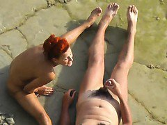 Voyeur. Fellow draining and pulverize redhead damsel on a p