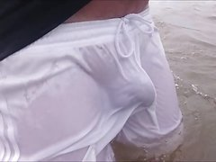 See Through Shorts at the Beach