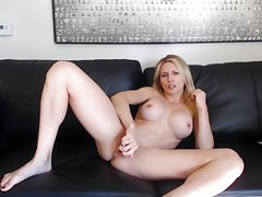 Blonde milf playing on cam for son's friends