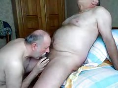 sucking cock on her knees is fun but she got tired and started sucking his dick while on her back