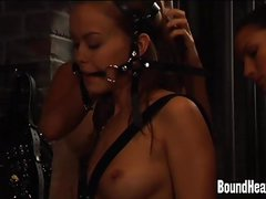 Huntress Brands Her Lesbian Slaves And Chains Them