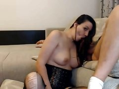 Silky Brunette Hairjob and Hair Blowjob, Long Hair, Hair