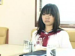 Adorable Japanese schoolgirl in white panties gets pleased