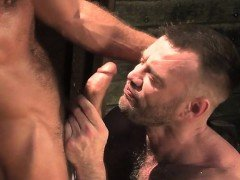 Brunette bear outdoor and cumshot