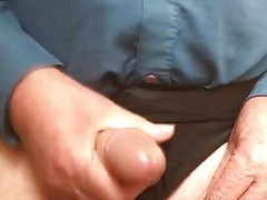 72 year old man wanking and cumming wearing wife's knickers