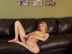 Crazy blonde Kelly Klass toys her twat and licks her dildo on cam