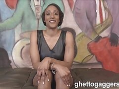 Ebony MILF Sha Dynasty face fucked hard at ghetto gaggers