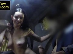 Stranded girls railing tow truck driver cock