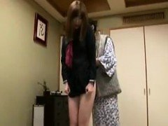 Adorable Japanese schoolgirl has an older man touching her