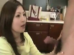 Exciting Japanese wife with a splendid ass gets fucked by a