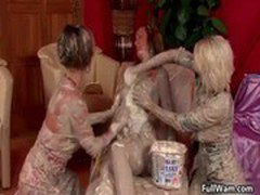 Three wam babes covered in a sticky