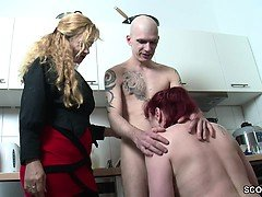 German MILF and Aunt Seduce Young Boy to Fuck Her