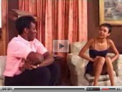 Slim shorthaired girl takes it all from a black man