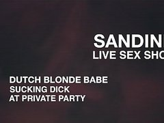 NATURAL TITTED DUTCH BLONDE SANDINE PUBLIC 69 BLOWJOB