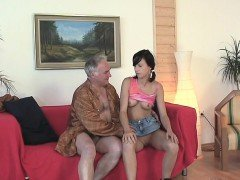 Lustful old boy explores young wet body of a pretty beauty