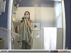 My girlfriend in bathroom caught by hidden cam