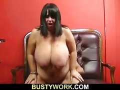 Mega boobs barmaid rides cock