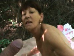 Granny Inci Gets Banged In Doggy Style Outdoors