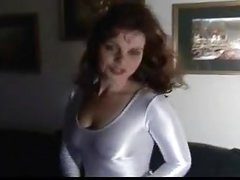 Women in shiny lycra spandex white