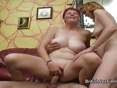 Pale redhead mature joins in with couple