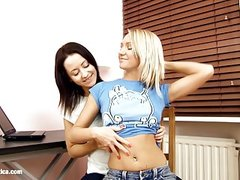 Irie and Audrey lesbians filmed by Sapphic Erotica